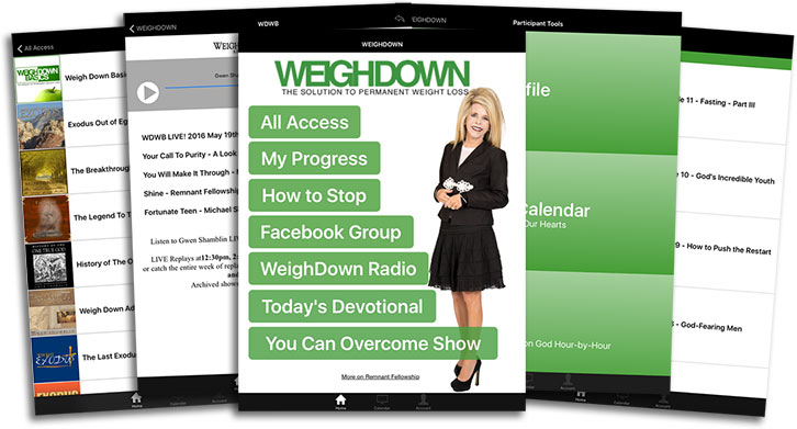 Weigh Down App screens
