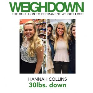 Hannah Collins before and after Weigh Down